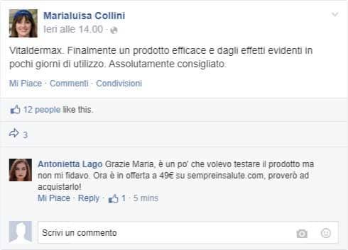 commenti su facebook di vitaldermax