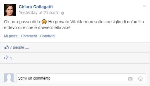commenti sulla pagina facebook di vitaldermax