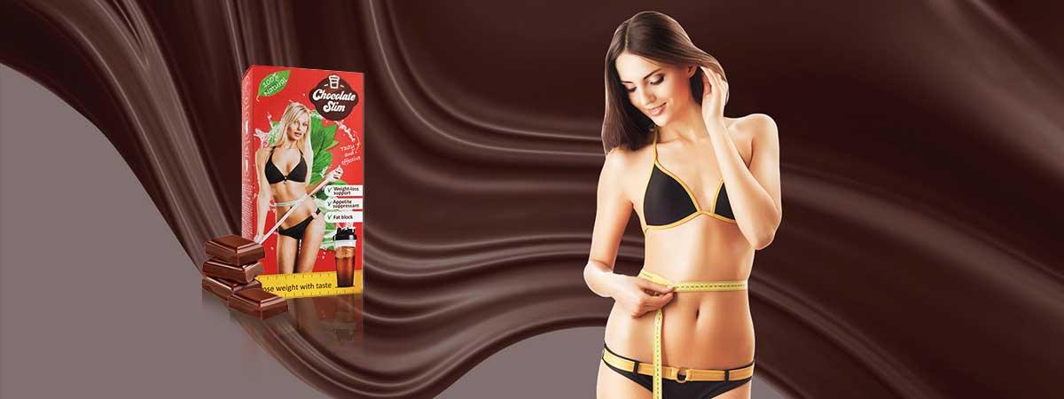 donna con confezione di Chocolate Slim