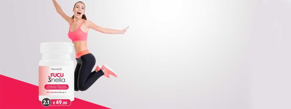 donna che salta vicino a confezione di fucusnella