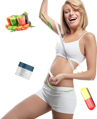 donna con creme shake e pillole