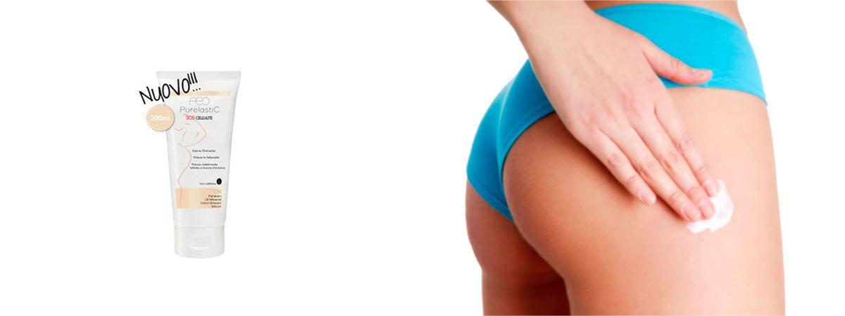 donna spalma purelastic SOS cellulite su una gamba