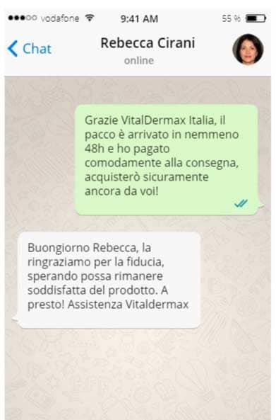 chat whatsapp con l'assistenza di vitaldermax